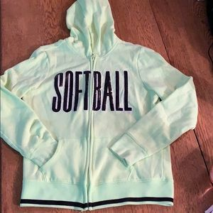 Lime green Justice softball zip hoodie size 12